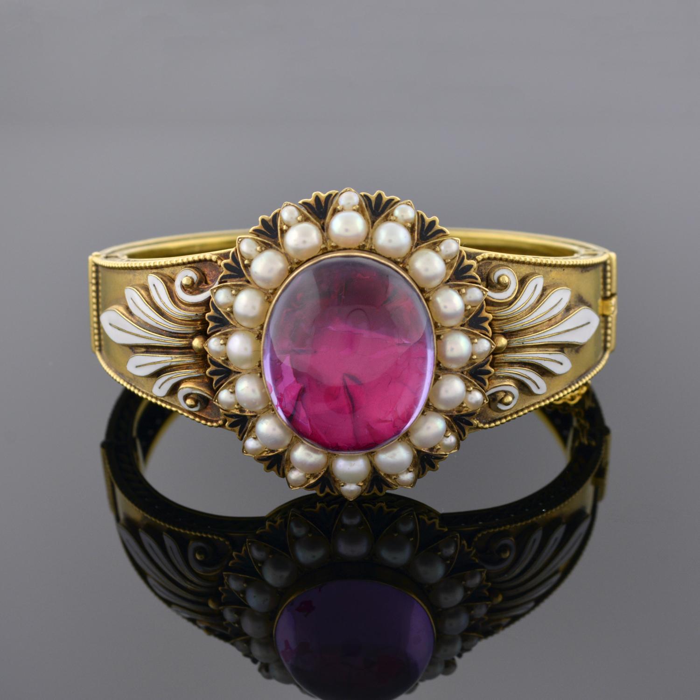 Renaissance Revival Amethyst, Pearl, and Enamel Bracelet