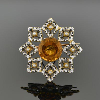 Renaissance-Revival Gold, Enamel, and Orange Zircon Brooch