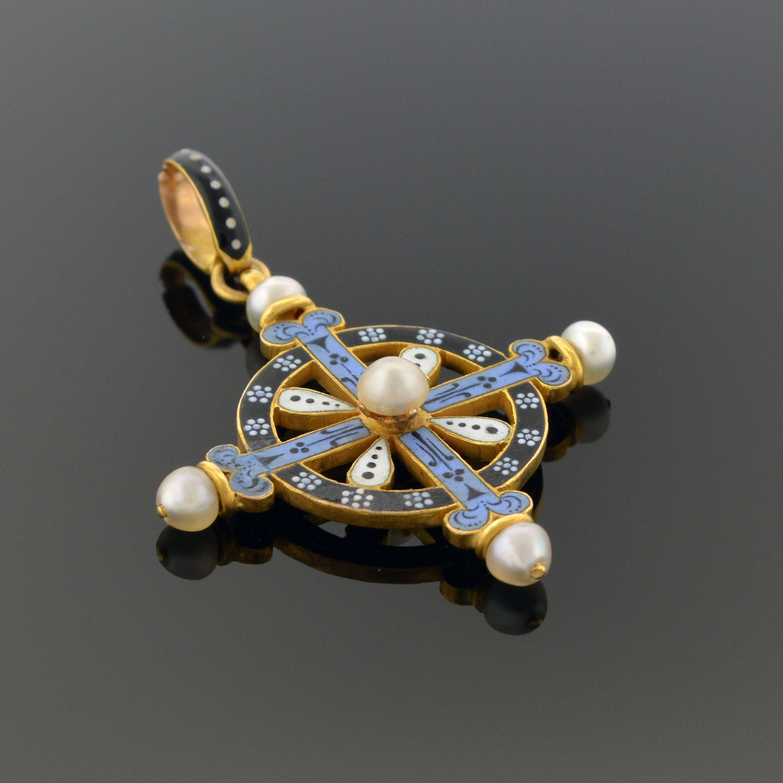 Multicolor Enamel and Pearl Pendant