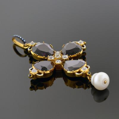 Gold, Rhodolite Garnet, Diamond, and Enamel Pendant