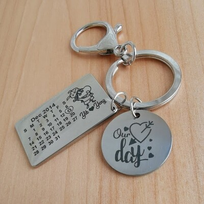 Personalized Calendar | Key Chain | Love Date | Stainless Steel - FREE SHIPPING