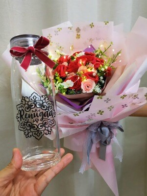 Drinking Bottle  Engraved Name  | With Soap Flower Bouquet