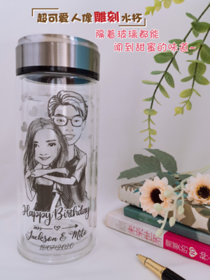 Personalize Comic Double Layer Big Glass Drinking Bottle