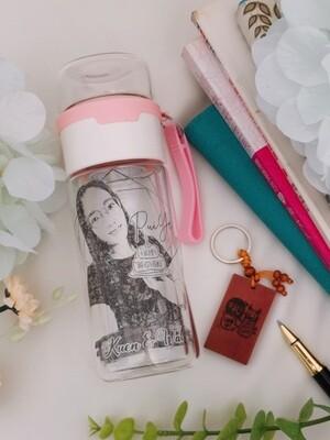 Personalize Laser Engraved - Portable Tea Water Separation Glass Tea Cup - Comic (Single) Portrait Make Someone Smile