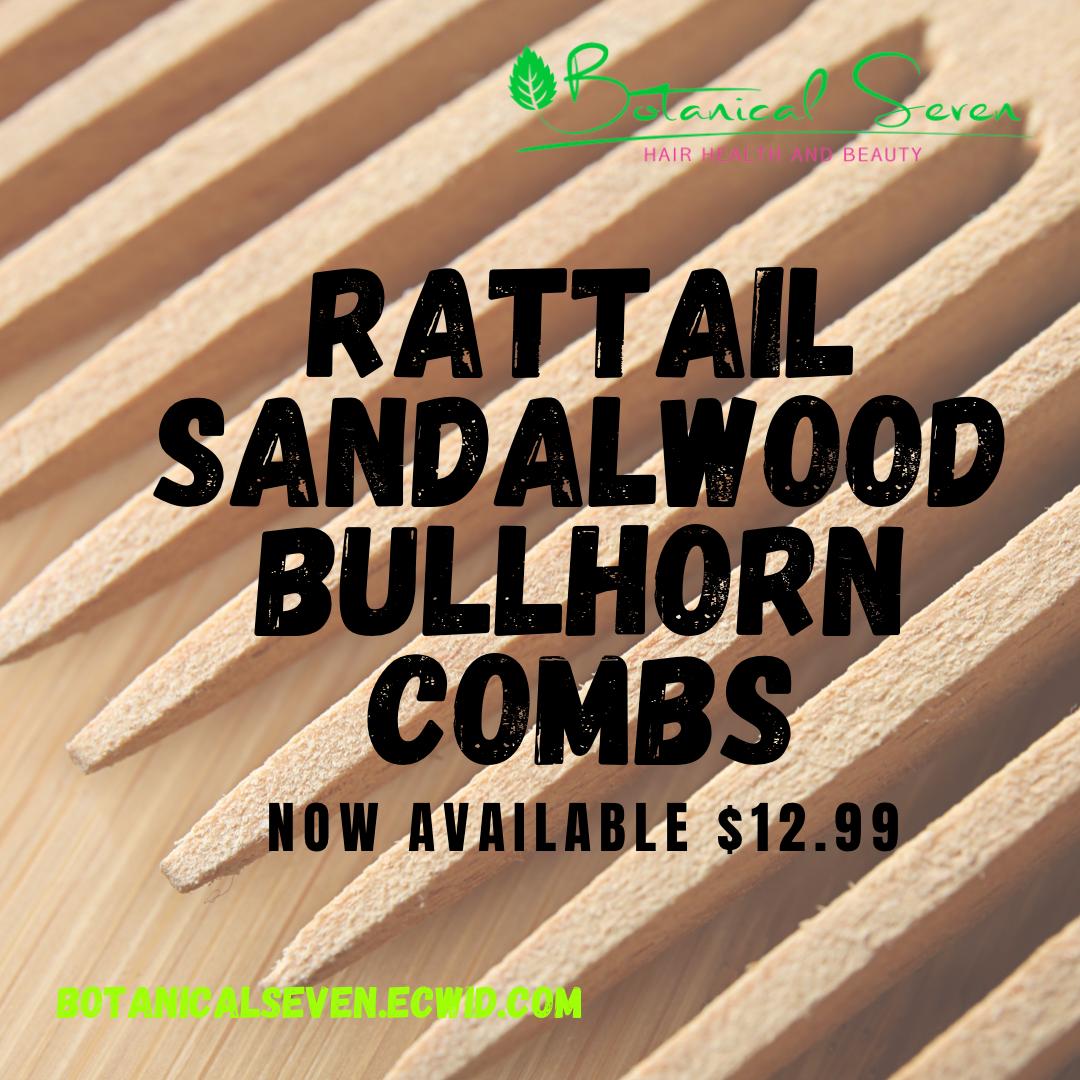 Rattail Sandalwood Bullhorn Comb