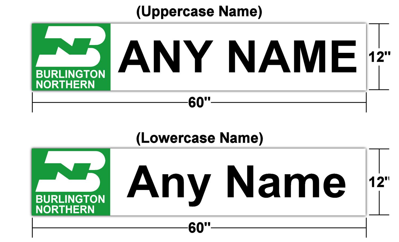 "Burlington Northern Station Sign 60"" x 12"" (Customizable)"