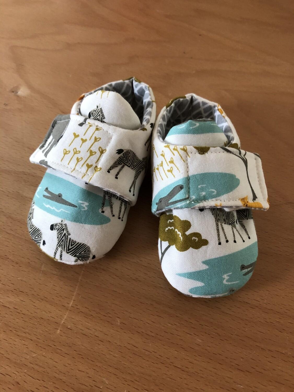 White Safari Baby Shoes, 0-3 months