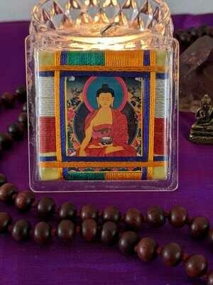 Embroidered Shakyamuni Buddha amulet