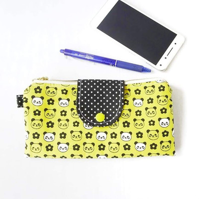 Handmade Double Zipper Wallet - Cute Panda Print