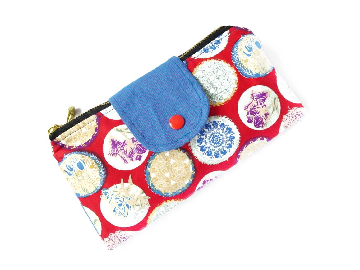 Handmade Double Zipper Wallet - Red Floral Print