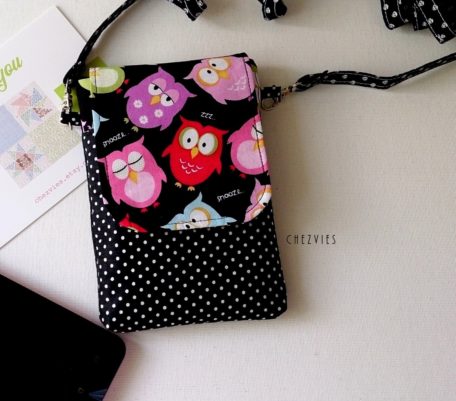Handmade Cell phone pouch,  Owl iPhone bag with strap - mini sling bag for Mobile Phone,