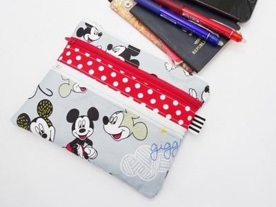 Grey Mickey Mouse Multi Zipper Pouch