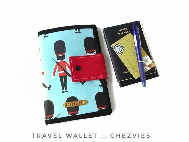 London theme Travel Wallet, Blue Fabric Passport Holder, Handmade Passport Wallet