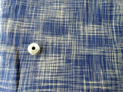 Slub cotton stripe indigo off white fabric