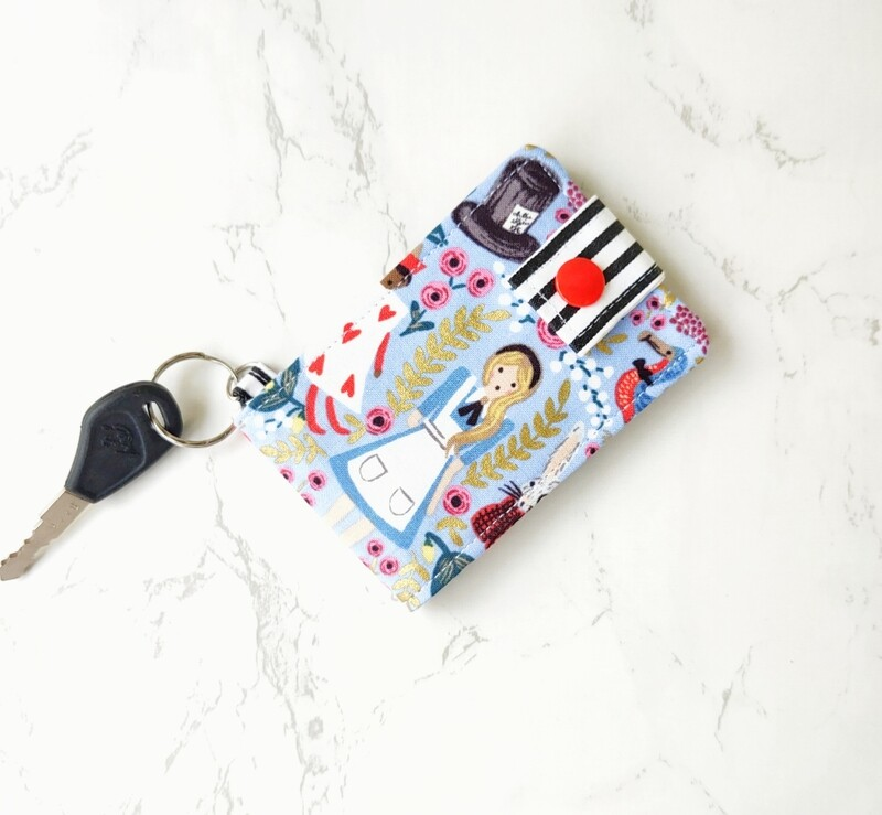 Handcrafted Blue fabric  ID card wallet - Wonderland