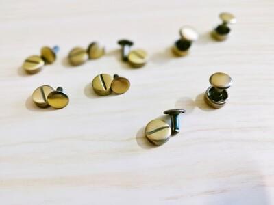 Set of 10 - Antique Brass Rivets 4x6 mm