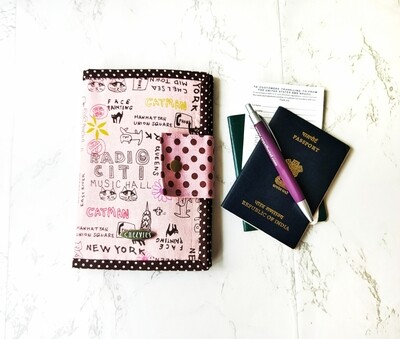 Handmade Passport Travel Wallet - Pink NYC