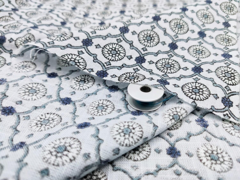 Grey and Blue  Block Print Linen