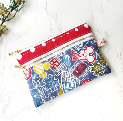Disney double zipper pouch