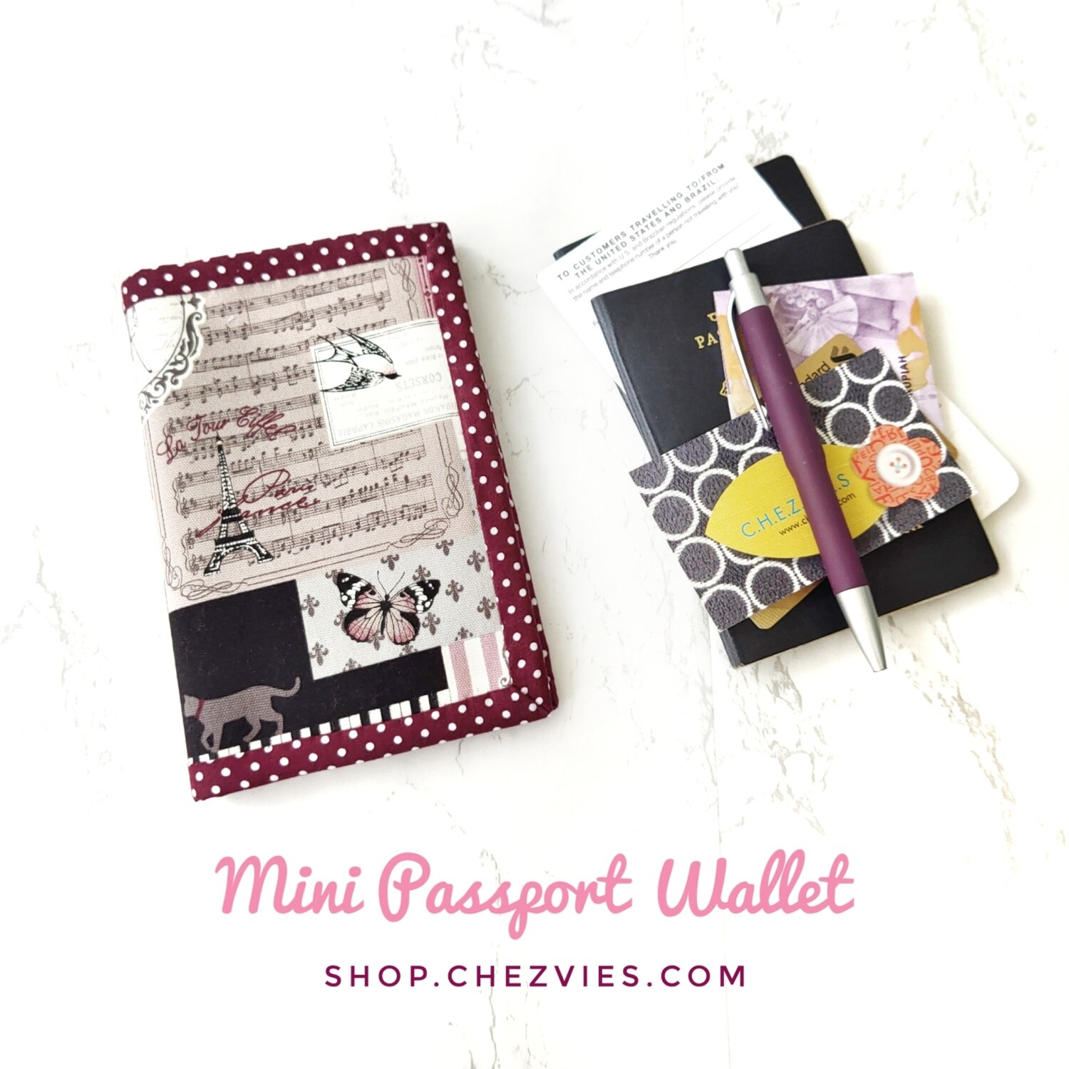 Handcrafted Linen fabric mini passport wallet - Paris