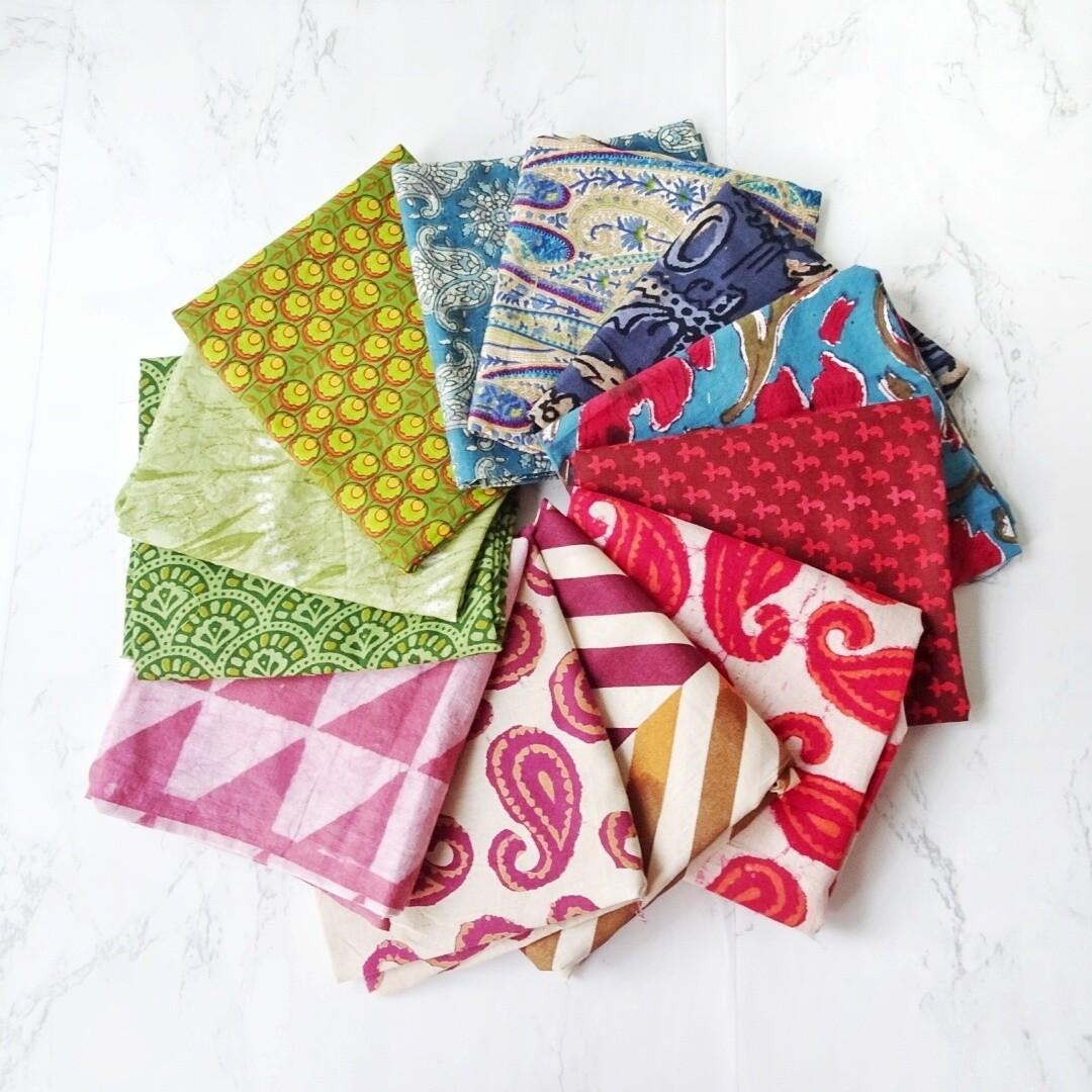Mix Mud Cloth and Block Print Cotton Fabric Fat Quarter Bundle of 12