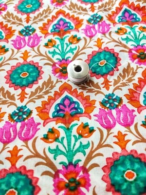 Multi Color Floral Print Cotton Fabric with Orange Border