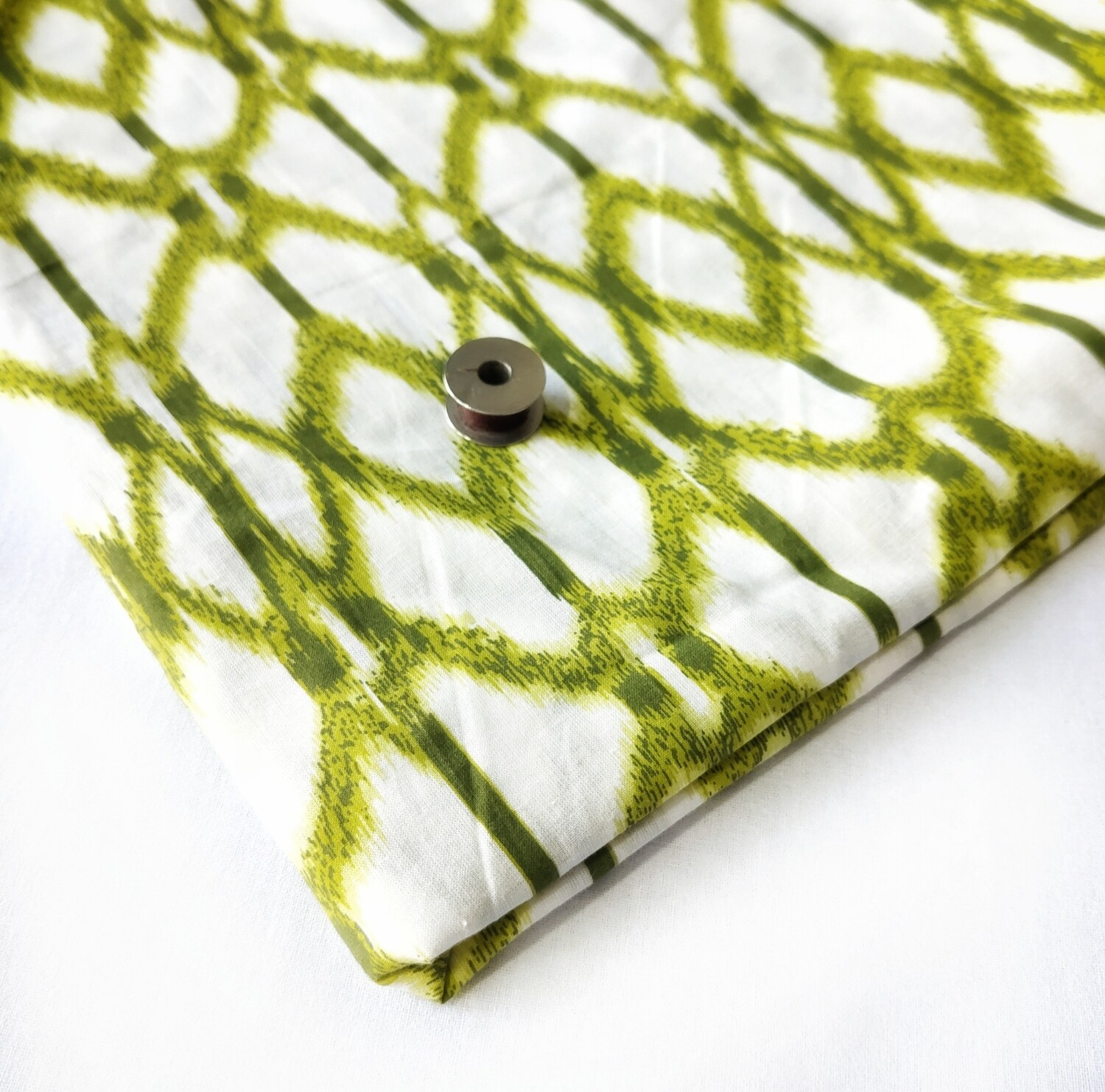 Green Off-white Ikat Print Cotton Fabric