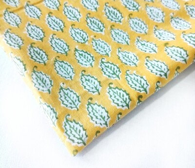 Yellow Green Leaf Print Lightweight Mulmul Cotton Fabric