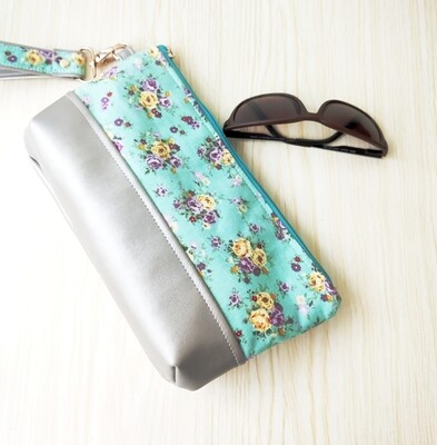 Faux Leather Wristlet - Large  - Green Floral