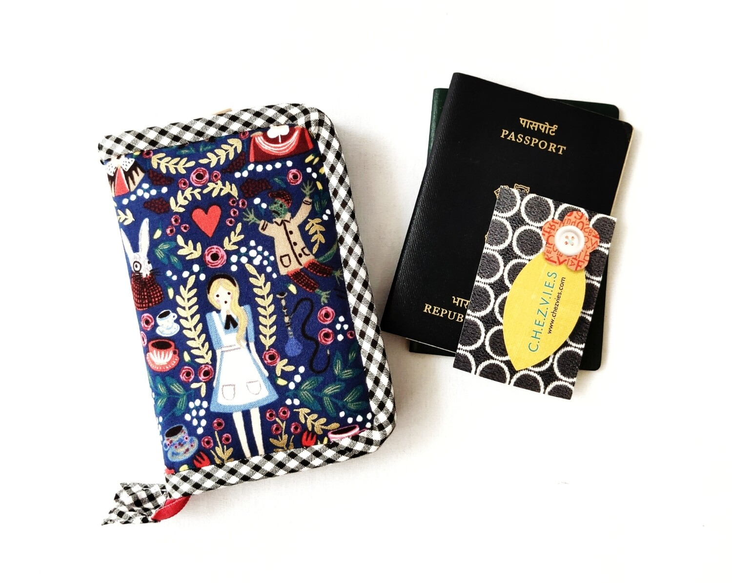 Personalised Zip Around Mini Passport Wallet - Rifle Paper Co - Alice in Dark Blue
