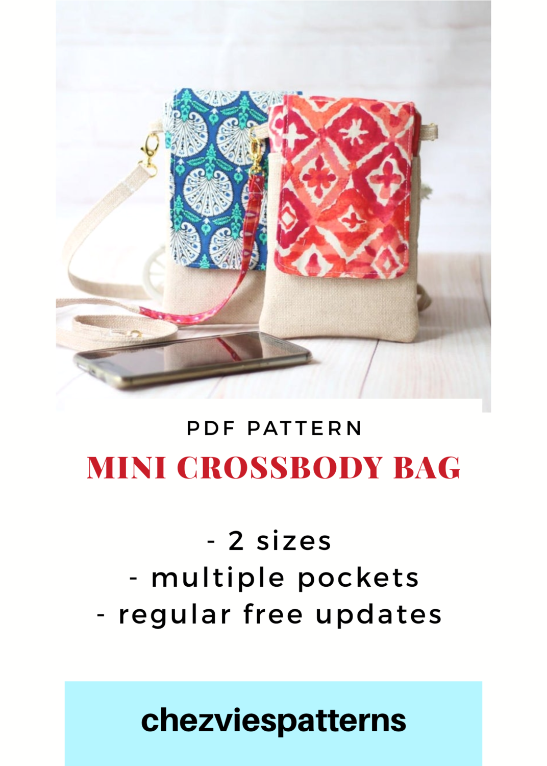 PdF Pattern - Mini Cross Body Bag and Kindle Case