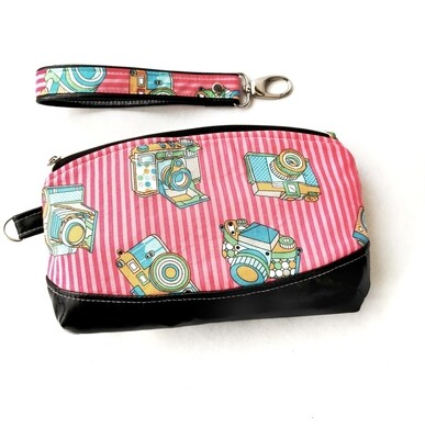 Pink Camera Print Zipper Pouch - Large  Size - Ready to Ship