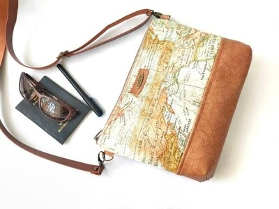 Handmade Crossbody Bag - Fabric and Faux Leather Combo