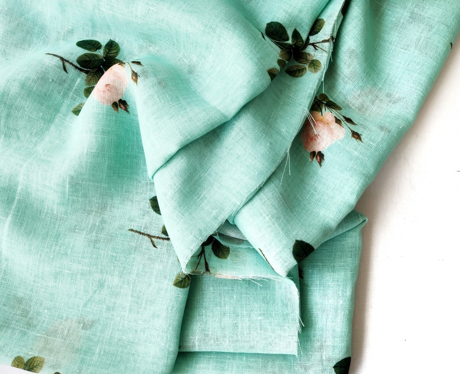 Green Floral Linen Jute with Silver Border, 44 inch wide, sold by Half Meter