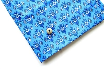 Blue block print cotton fabric - 44 inch wide - sold by half meter