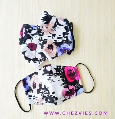 Double Layer 3D Fitted Face Mask - Purple Flower - Pre Order