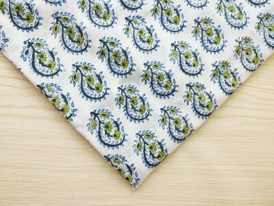 Blue Paisley Flower Block Print Fabric - Sold by Half Meter