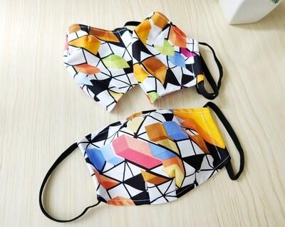 Bright Homemade 3D Cloth Face Mask  - Geometric Print - Pre Order