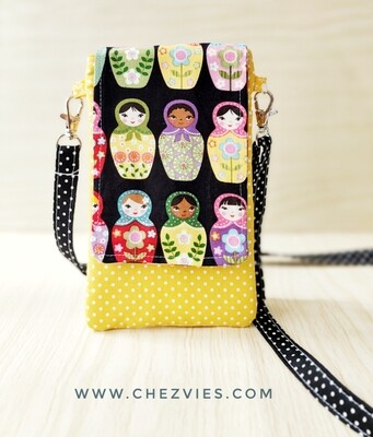 Handmade Mobile Phone Sling Bag, Russian Doll Phone Sleeve- Made to Order