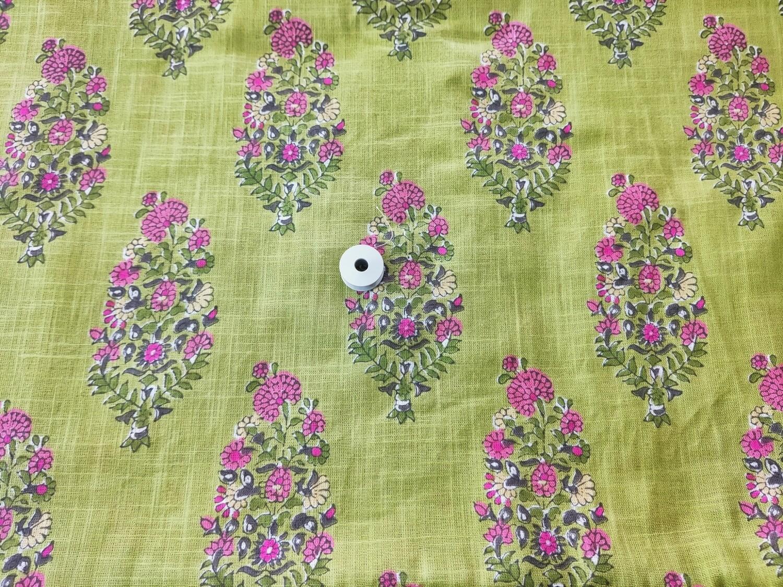 Green Floral Slub Linen Fabric - 44 inch wide
