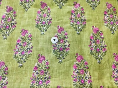 Green Floral Slub Linen Fabric - 44 inch wide