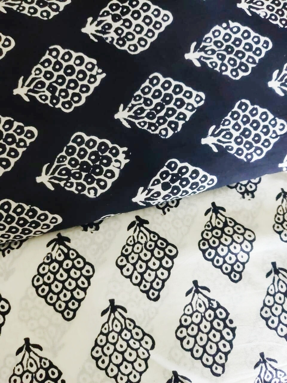 Black and White Block Print Cotton Fabric