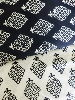 Black and White Block Print Cotton Fabric