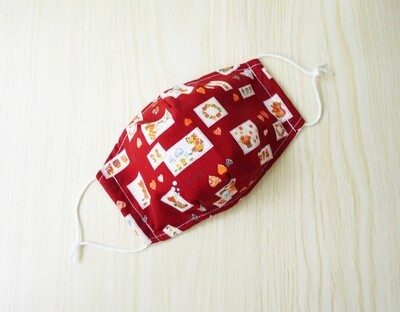 3D Fitted Face Mask - 2 Ply Cotton Face Covering - Sun Bonnet Sue - Red - Pre Order