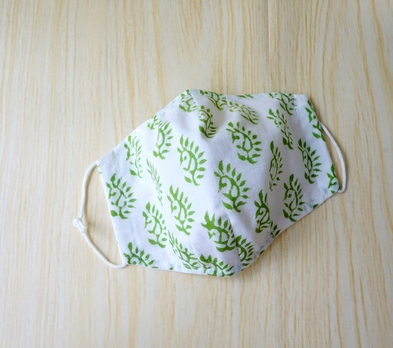 Green 3D Fitted Face Mask, Double Layer, Block Print , Made to Order