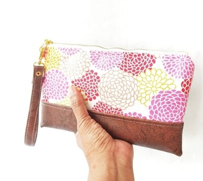 Pink Faux Leather Wristlet Wallet
