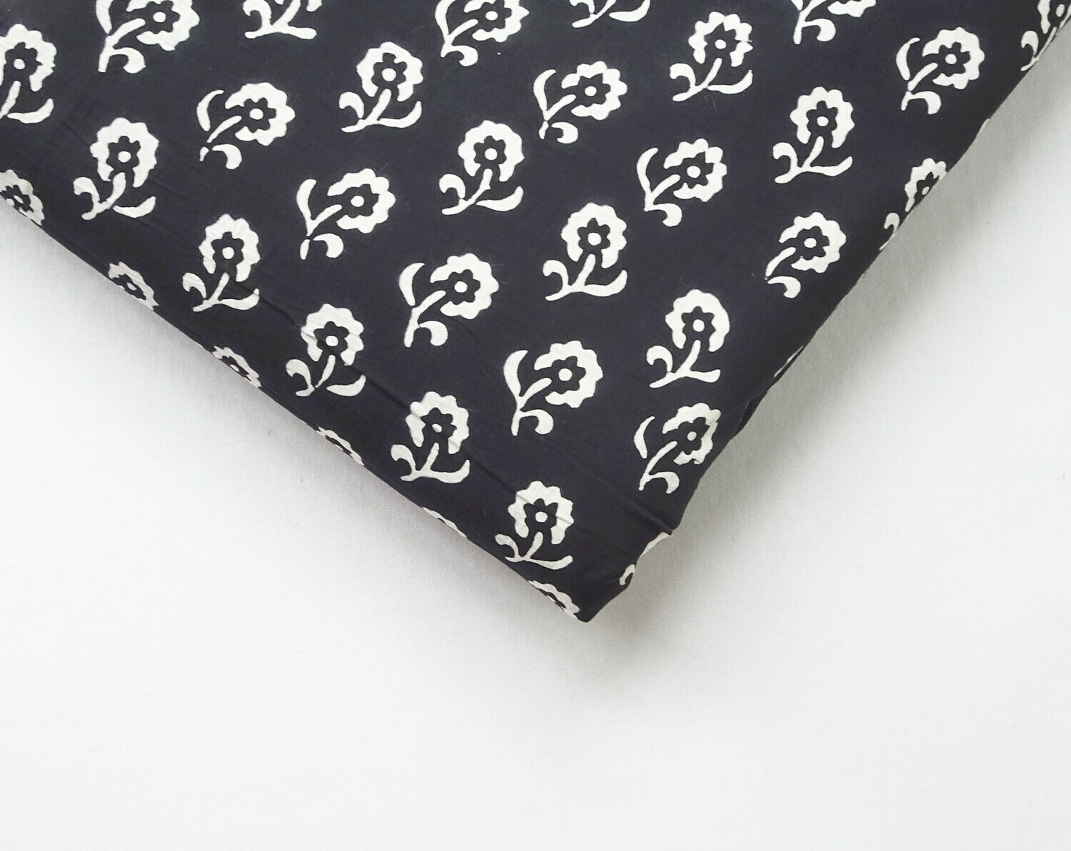 Black and White Block Print Cotton Fabric, Medium Floral Print - 44 Inches Wide - Sold by Half Meter