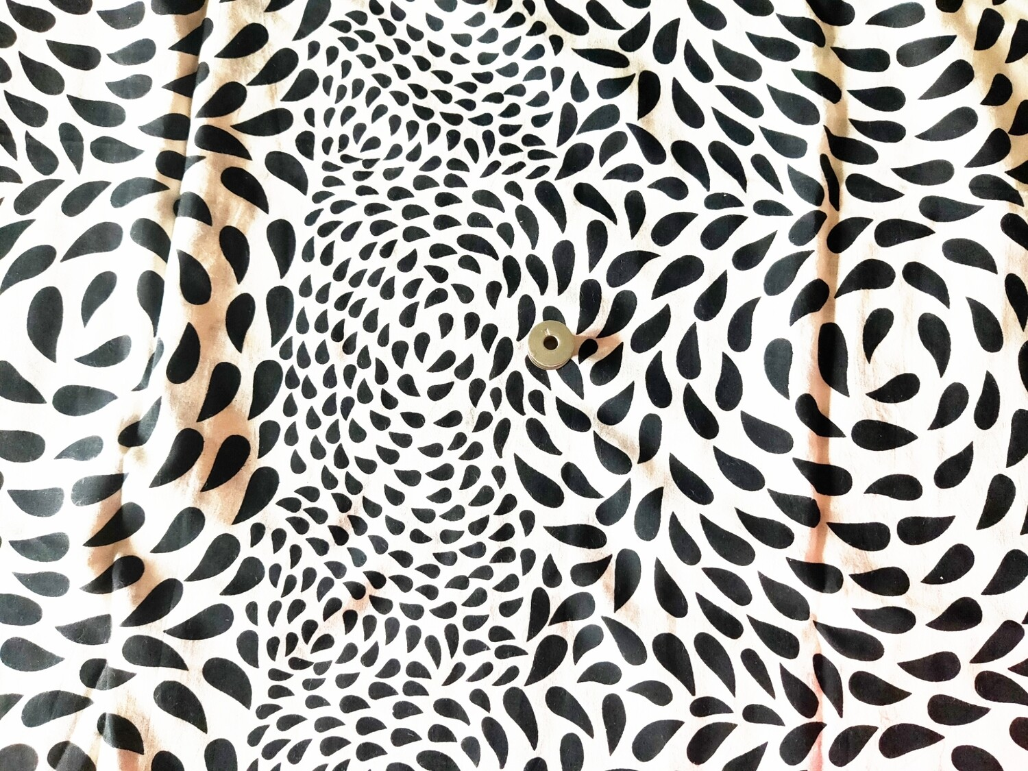 Black and White Cotton Fabrics - Water Drop Design - 44 inch wide - sold by half meter