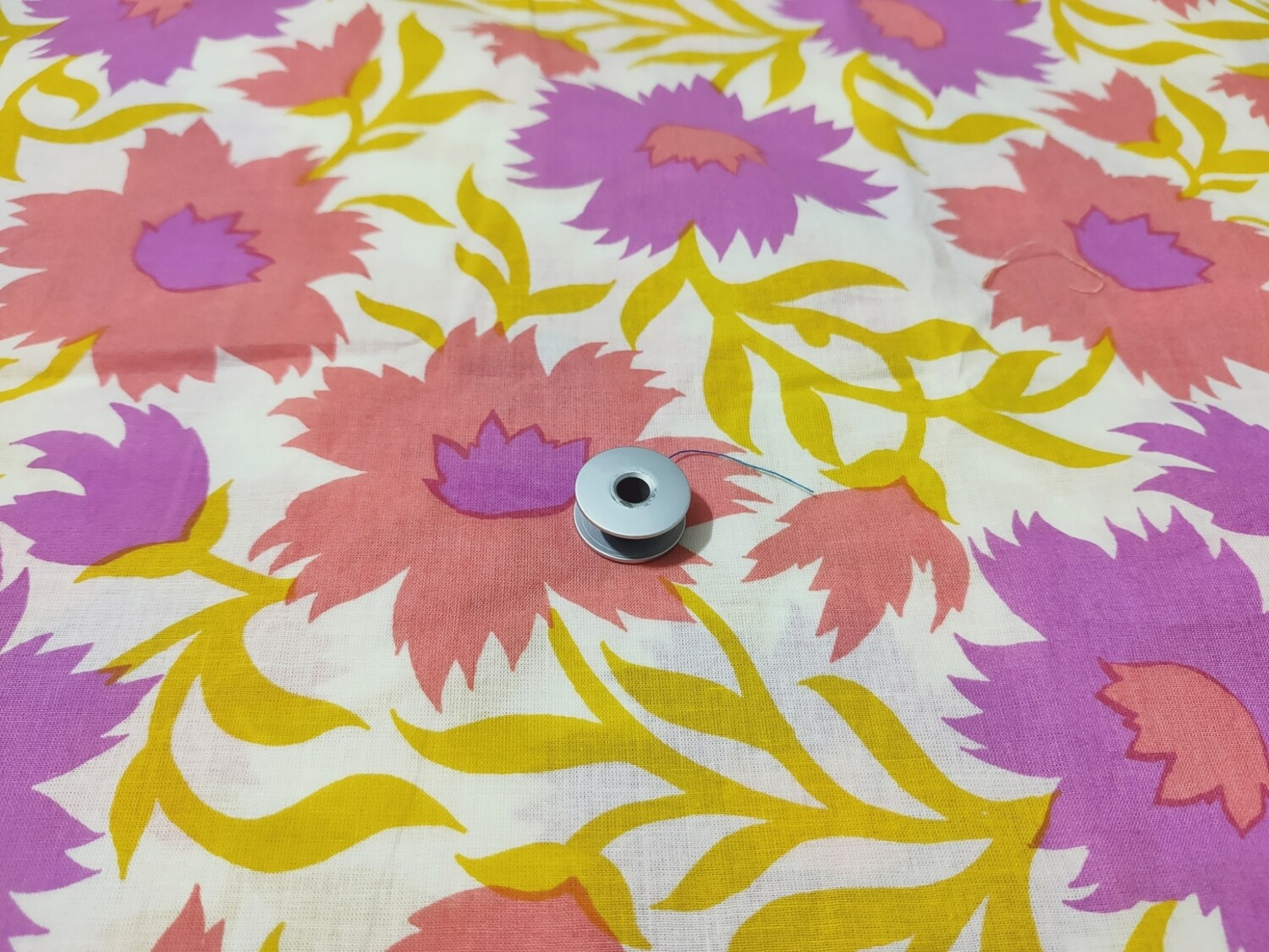 Peach Purple Big Floral Cotton Fabric - 44 Inches Wide - Sold by Half Meter