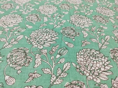 Sage Green Chrysanthemum Floral Print Cotton Fabric - Lightweight - 44 inches wide